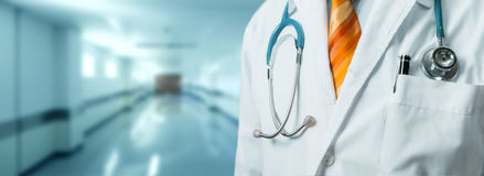Free Man Doctor With Stethoscope In Coat. Global Healthcare Medicine Insurance Concept Stock Photos - 97445993