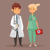 Man doctor and woman nurse, Medicine workers Stock Image