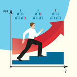 Man does career. Man goes on a career ladder.  EPS,JPG. Man does career. Man goes on a career ladder. Career growth in a company. Vector infographics. Steps on Royalty Free Stock Photo