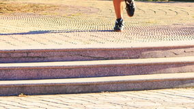 Man Does Morning Exercises Legs Run along Path Steps stock video