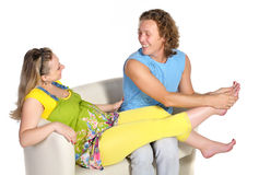 Free Man Does Pregnant Woman Massage Royalty Free Stock Images - 20848169