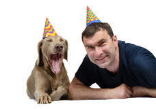 The man and dog Stock Image