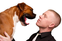 Man and dog. Man and pet dog that is yawning Stock Images