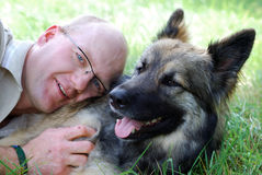 Man with dog Stock Photography