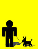Man and Dog. Man walkind dog over yellow background,illustration Stock Photos