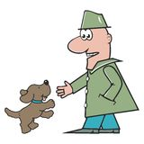 Man and dog. Amusing illustration Stock Photography