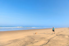 Man and dog at the beach Stock Images