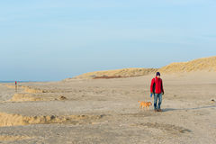 Man with dog at the beach Royalty Free Stock Photography