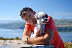 Man and Dog.Best Friends. Man and Dog Together Outdoor.Best Friends royalty free stock photo