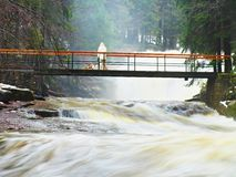 Man with dog on bridge over troubled water. Huge stream of rushing water masses below small footbridge. Fear of floods. Man on bridge above troubled water. Huge Royalty Free Stock Image