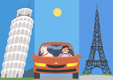 Man and dog in a car against europe attractions vector cartoon Royalty Free Stock Photography