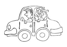 Man an dog in cartoon car, vector illustration Royalty Free Stock Photography