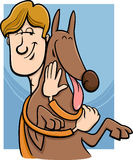 Man and dog cartoon illustration Stock Images
