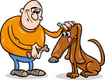 Man and dog cartoon illustration Stock Photography