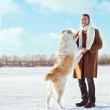 Man and dog stock image