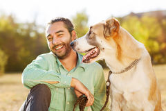 Man and dog Royalty Free Stock Images