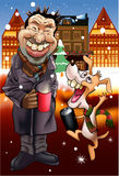 Man and Dog Christmas Carol Royalty Free Stock Images