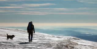 Man and dog climbing mountains. Climber and dog walking in frozen snow Stock Photo