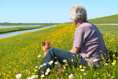 Man and dog on Dutch wadden island Texel Stock Photo