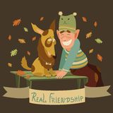 Man and dog friendship. Vector real friendship of man and dog Royalty Free Stock Photo