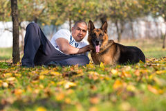 Man With Dog German Shepherd Stock Photography