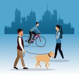 Man dog girl walking and guy ride bike city background. Vector illustration eps 10 Stock Photos