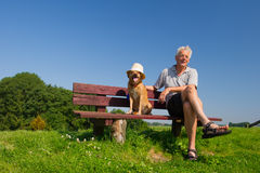 Man and dog with hat Stock Image