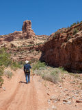 Man and dog hiking in a desert canyon Royalty Free Stock Photo