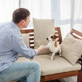 Man with dog at home stock image