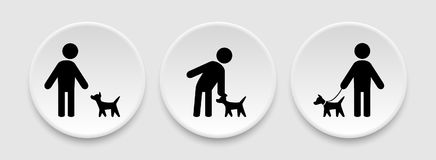 Man and dog icons. Man and dog symbols on round buttons Royalty Free Stock Images