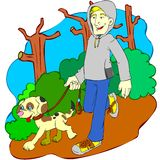 Man and dog jogging in the nature. Funny pic of a man and his dog jogging. High resolution image,it can be used in your own designs. Perfect for web, banners vector illustration