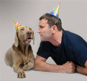 The man and dog lie Royalty Free Stock Image