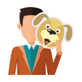 Man with Dog Mask Flat Design Vector Illustration. Brunet man character in pullover with dog mask in hand vector. Flat design. Masquerade animal clothing and Stock Photos