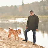 Man with a dog Royalty Free Stock Photography
