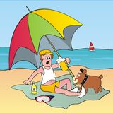 Man, dog and parasol Royalty Free Stock Photo