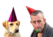 Man and dog partying Royalty Free Stock Photo