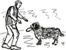 A man with a dog. A man playing frisbee with a dog. Hand-drawing sketch, vector illustration royalty free illustration