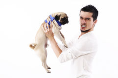 Man and dog Stock Images