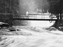 Man with dog in rain stay on bridge over troubled water. Huge stream of rushing water masses below footbridge. Fear of floods. Royalty Free Stock Image