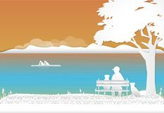 Man and dog relax on the bench and looking canoe at lagoon, natu. Re background, paper art style illustration Royalty Free Stock Photo