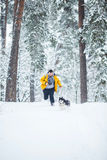 Man and dog run Stock Images