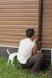 Man with a dog sets drainpipe on the wall royalty free stock photo