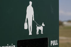 Man and dog silhouette. A man and a dog silhouette Stock Photos