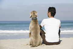 Man And Dog Sitting On Beach Royalty Free Stock Images