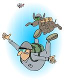 Man and dog skydivers. This illustration depicts a man and dog free falling after jumping out of an airplane with parachute packs on their backs Stock Images