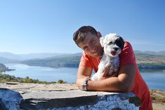 Man and Dog.Best Friends. Man and Dog Together Outdoor.Best Friends royalty free stock images