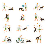Man Dog Training Playing Pet Stick Stock Images