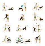 Man Dog Training Playing Pet Stick. Flat icons royalty free illustration