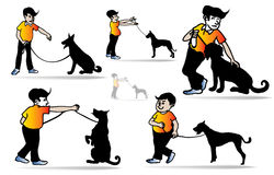 Man and dog. The Dog Man Training.,Teaching a dog to tame., silhouette illustration Stock Photography