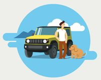 Man and dog on road trip vector illustration